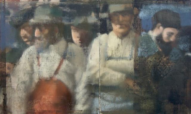 """Line Of Men, Oil on Linen on Panel, 2015, 30"""" x 50"""""""