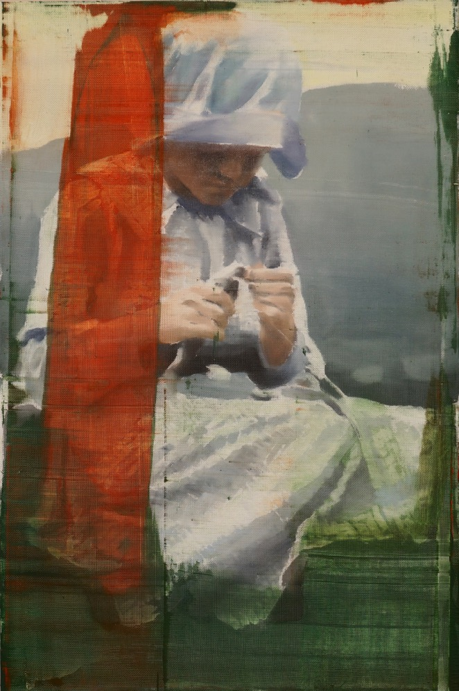 """A Little Care, Oil on Screen on Panel, 2015, 36"""" x 24"""""""