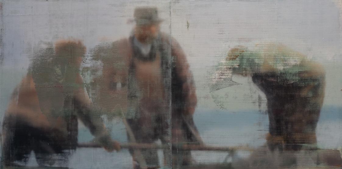 """Three Men, Oil on Screen on Panel, 2015, 24"""" x 48"""""""
