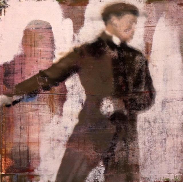 "Man Skating, Oil on Linen on Panel, 2016, 24"" x 24"""