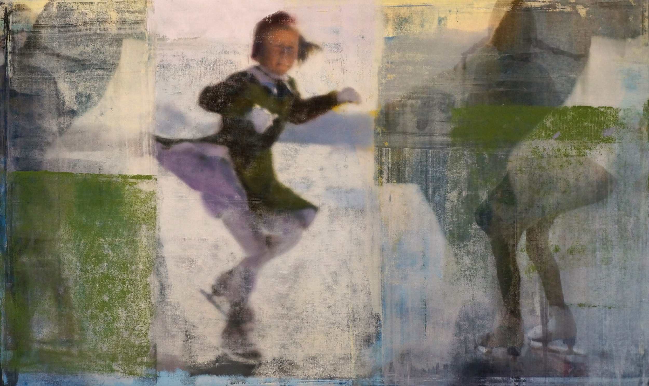 """Skater with Green, Oil on Linen on Panel, 2016, 48"""" x 80"""""""