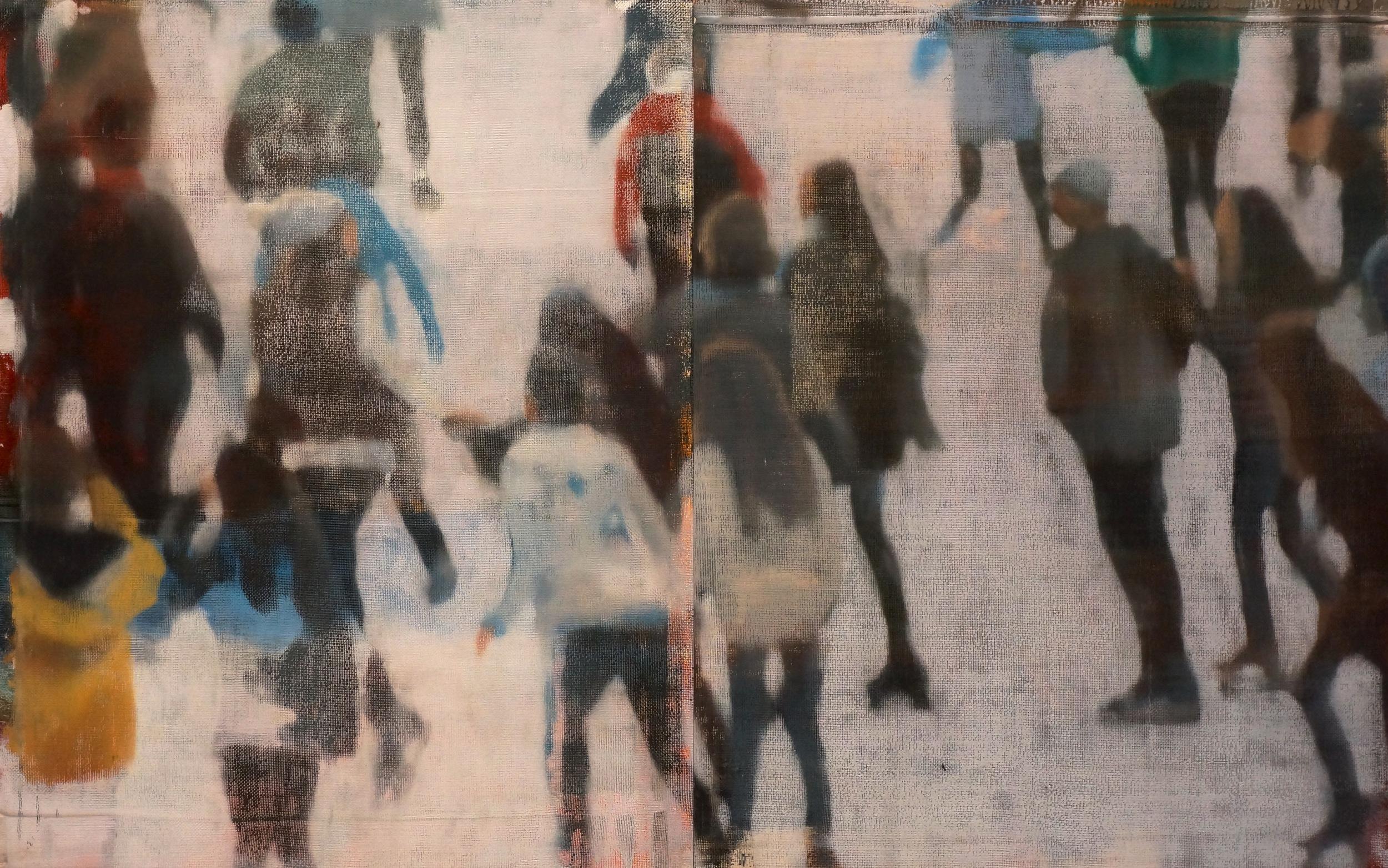 """Small Crowd on Ice, Oil on Linen on Panel, 2016, 30"""" x 48"""""""