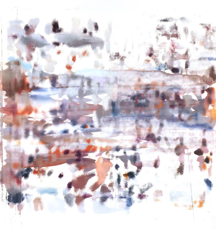 Buller I 2017 I Blurred Crowd #1 - Horizontal I 51x48 OD I Oil on Resin Paper