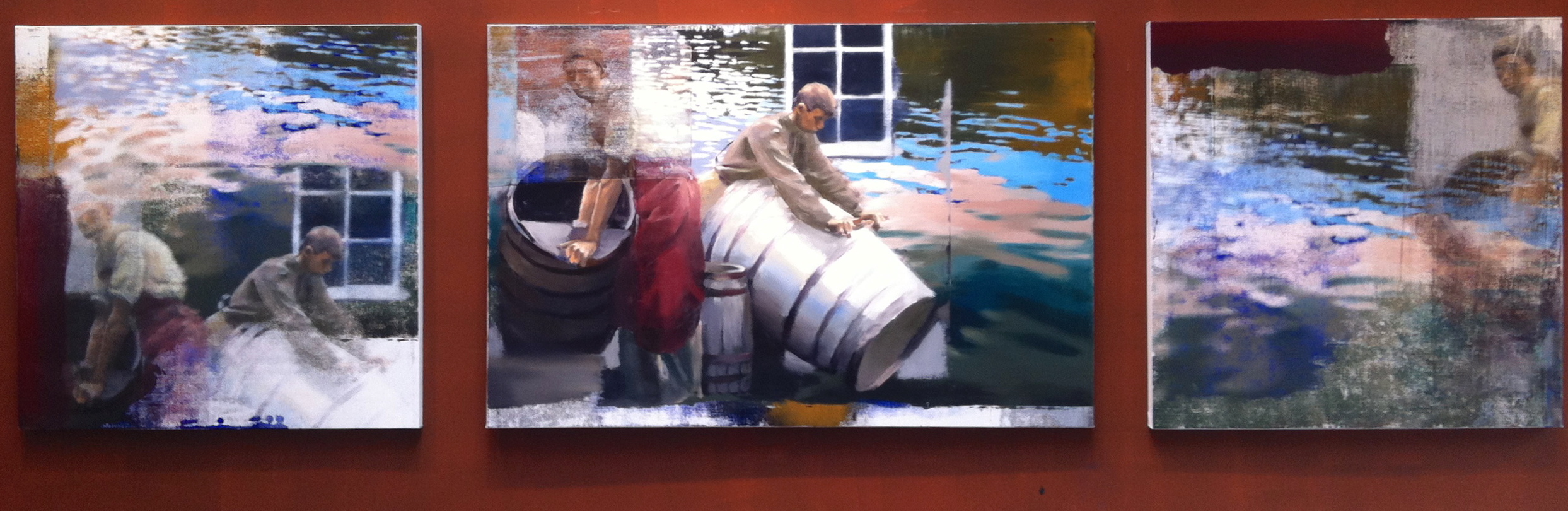 "3. Moving the Barrels, Oil on Linen on Panel, 2013, 48"" X 168"""