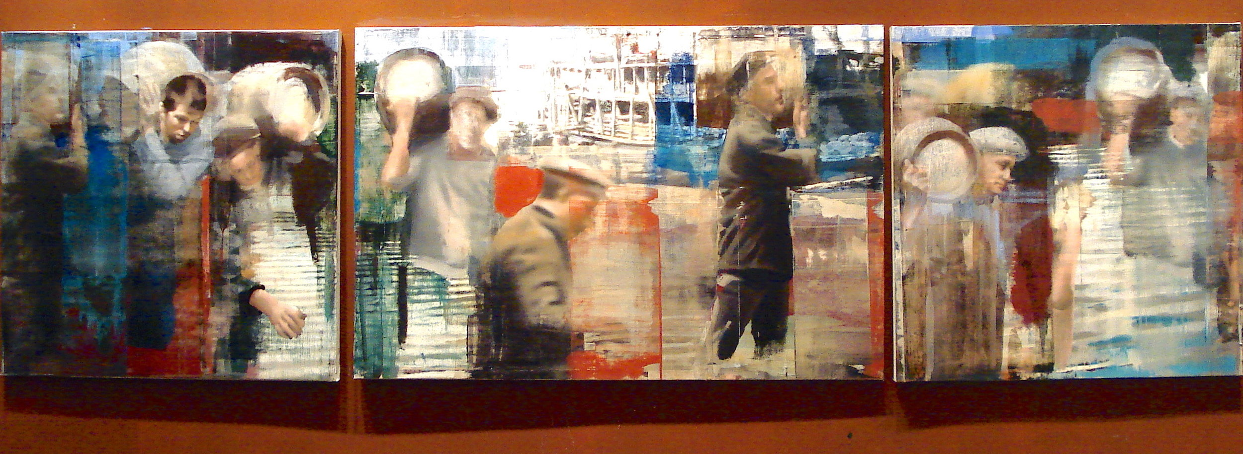 "20. Moving the Barrels, Oil on Linen on Panel, 2013, 48"" X 168"""