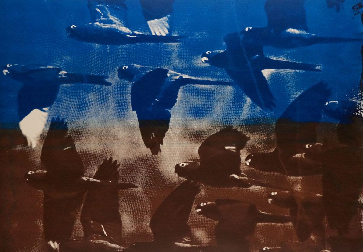 "Dark Parrots I 2018 I Oil on Paper on Aluminum I 29 x 42"""