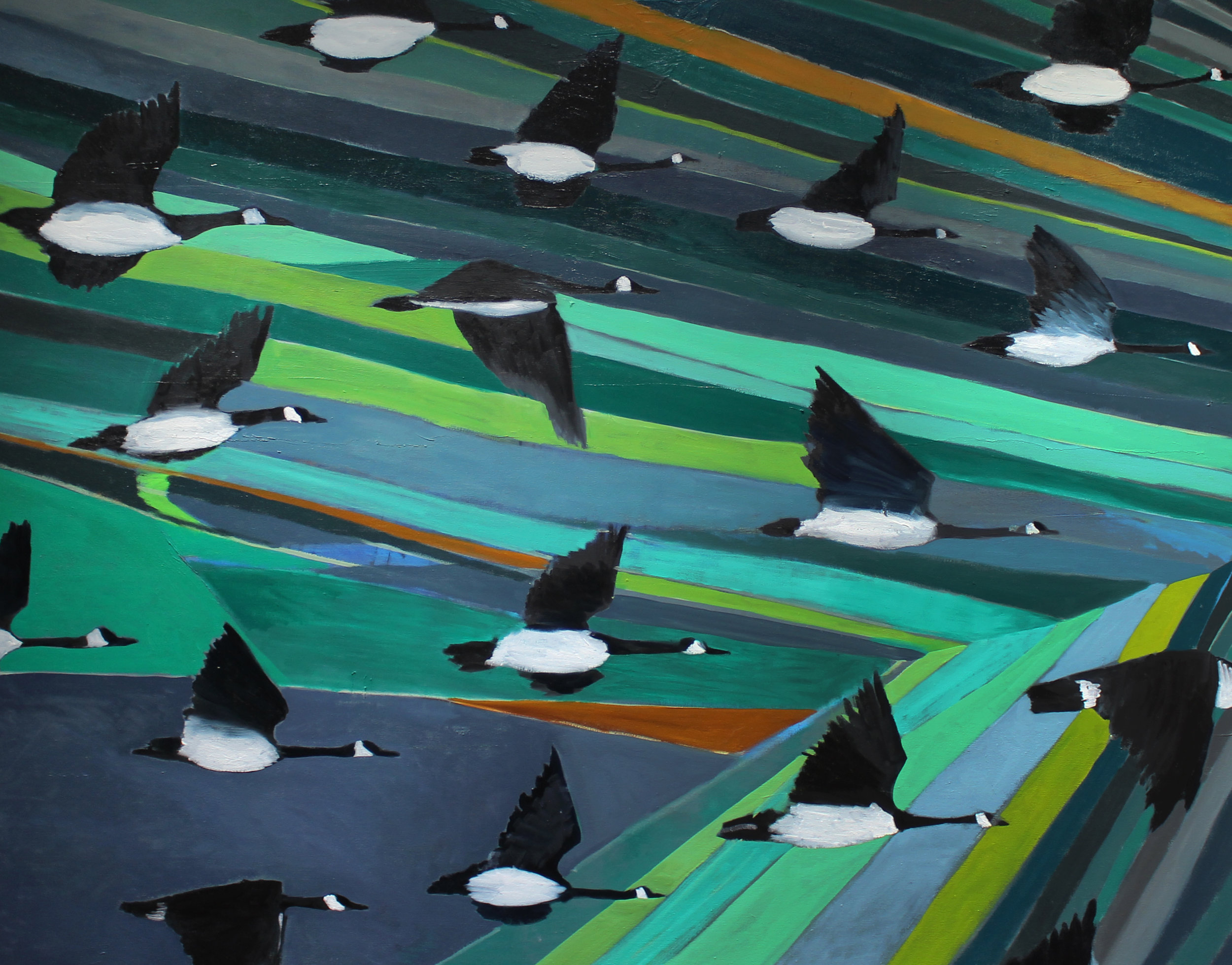 "Geese Migration  2016  oil on canvas  48"" x 60"""