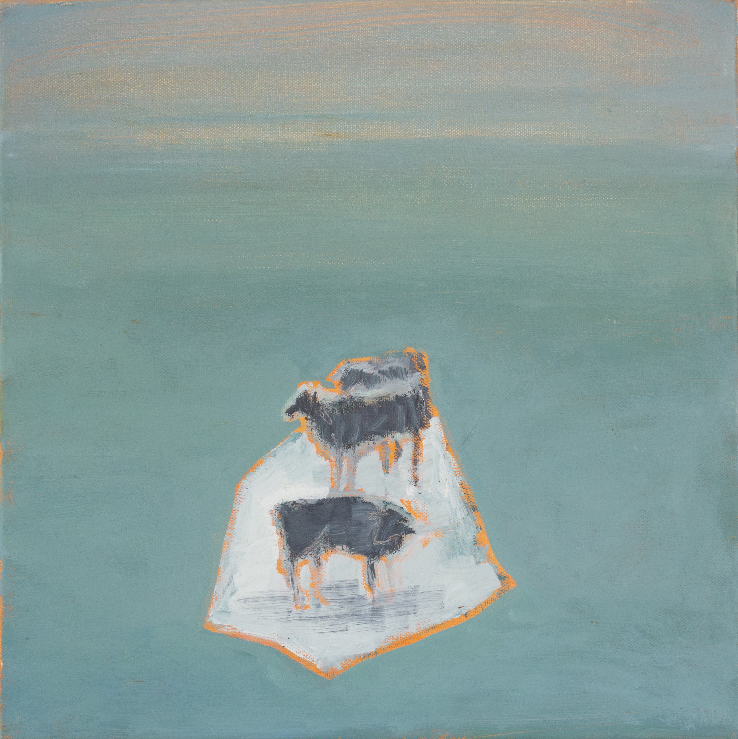 "Herd on Blue Ice  2019  oil on canvas  14"" x 14"""
