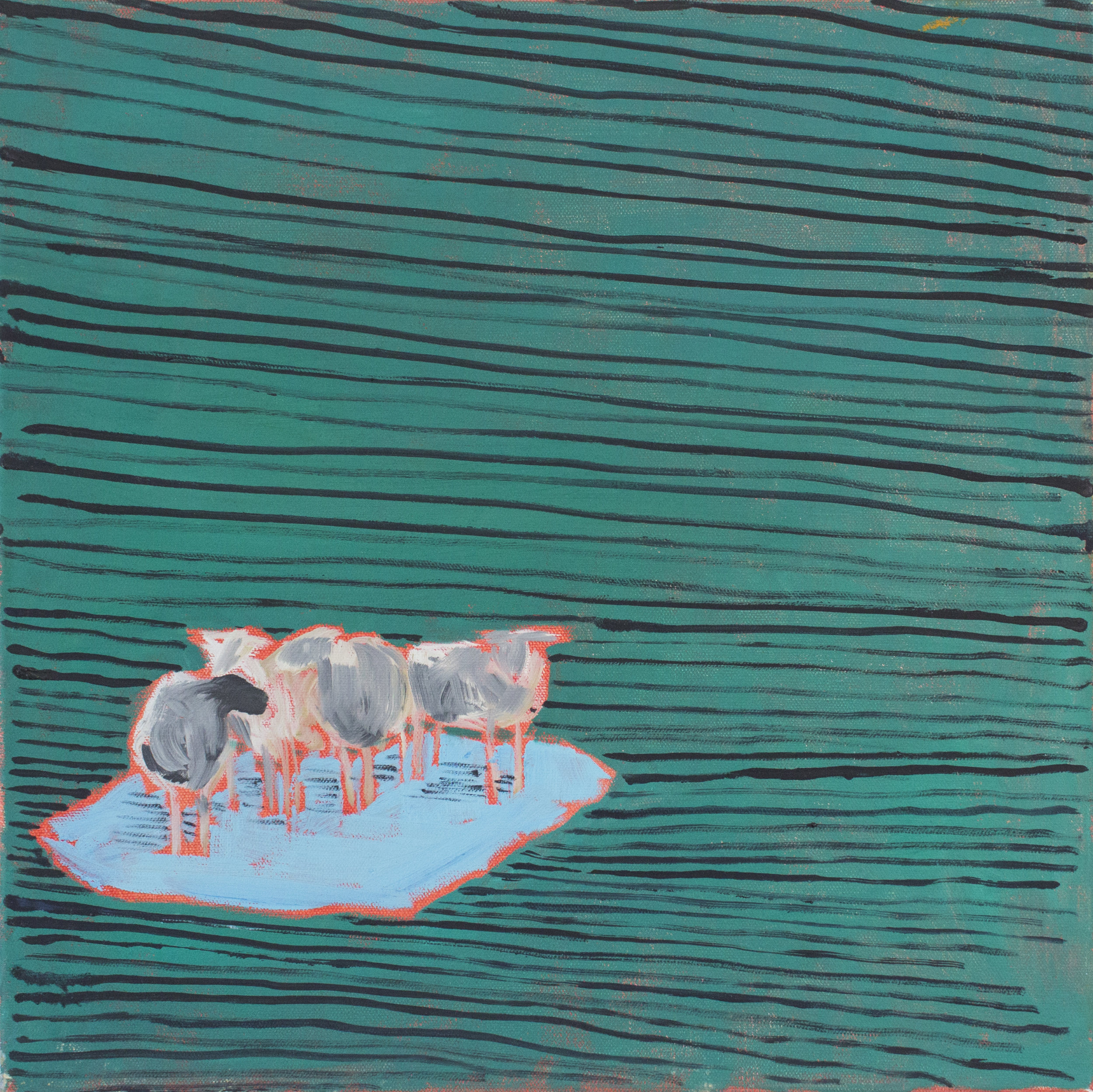 "Sheep on Ice, Green Stripes  2019  oil on canvas  16"" x 16"""
