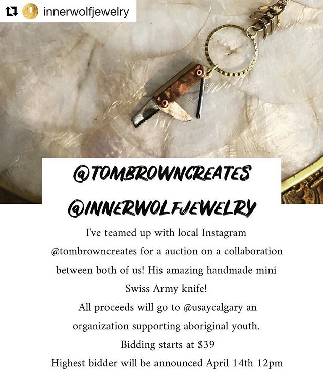 I'm so excited for this collaboration with @innerwolfjewelry! Read on for the details... #Repost @innerwolfjewelry with @get_repost ・・・ @tombrowncreates  and I teamed up to auction this gorgeous HANDMADE mini Swiss Army knife! I actually met him through one of his amazing mini knife finds and he uses such items such as old nails and shapes them into these gorgeous pieces. The little knife is actually sharp enough to cut paper as well. We're trying to raise a little bit of money to throw towards @usaycalgary which is an organization to helping aboriginal youth.  Bidding starts at $39, just go up by dollar please when you comment on the post. The last person who enters with the final amount will be the winner and I'll announce on April 14th 12pm mst. Happy playing to support a good cause. ♥️ #innerwolfjewelry  #tombrowncreates