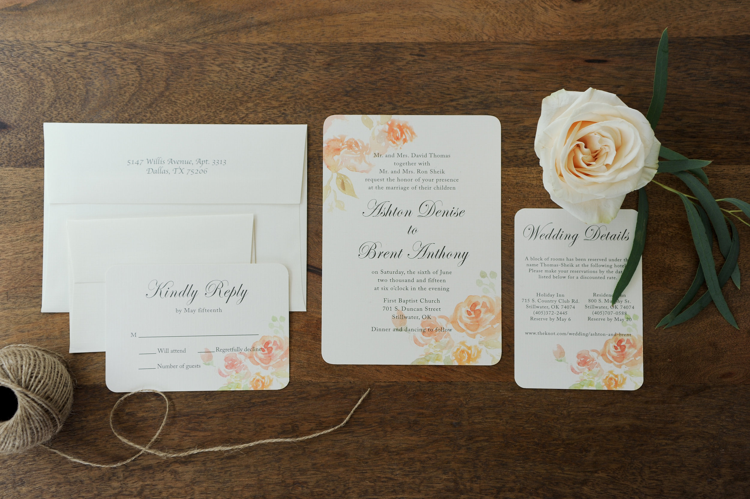 Water Color Roses Wedding Invite