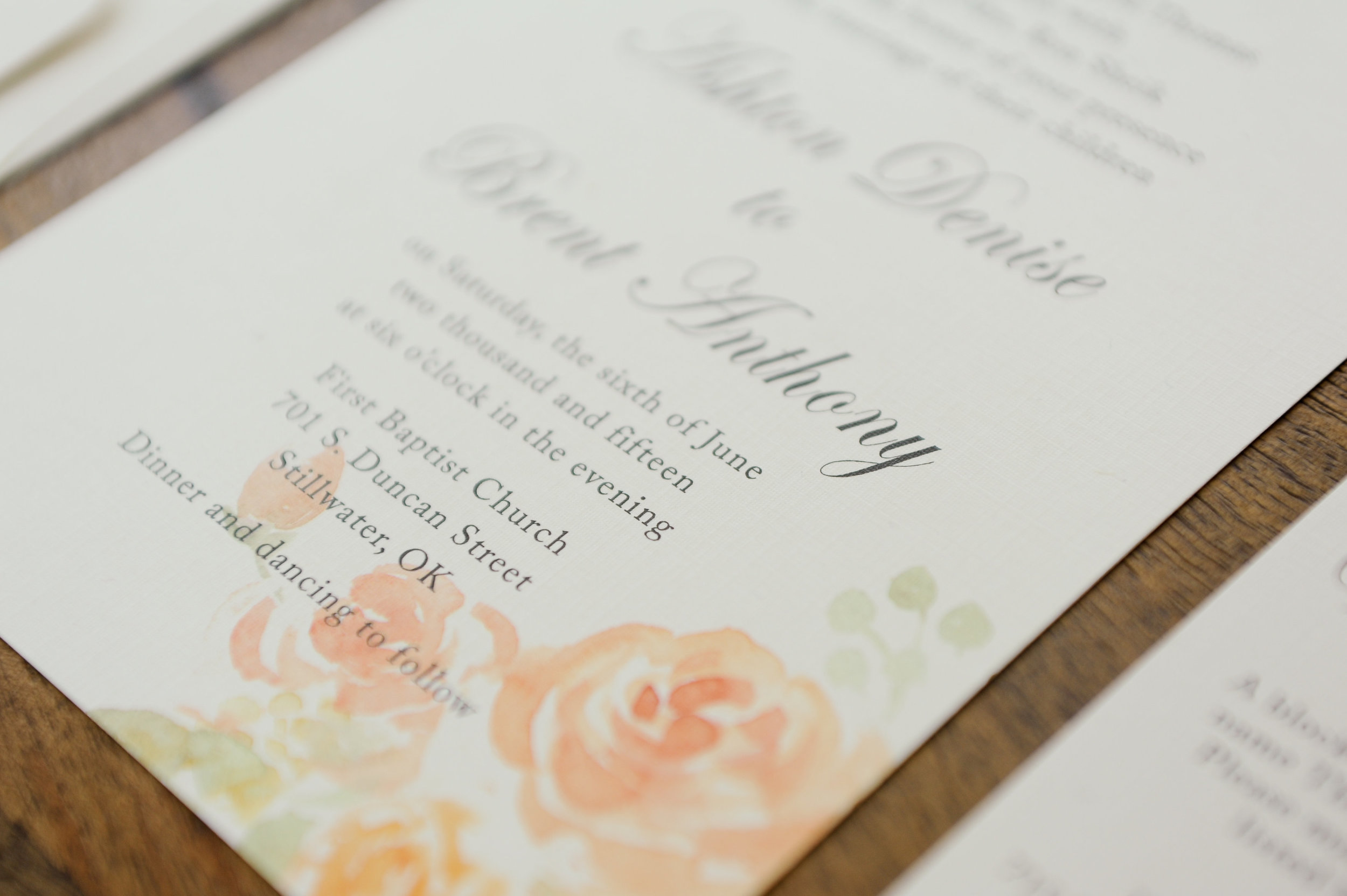 My head was spinning with images of soft floral designs for their invitation suite.