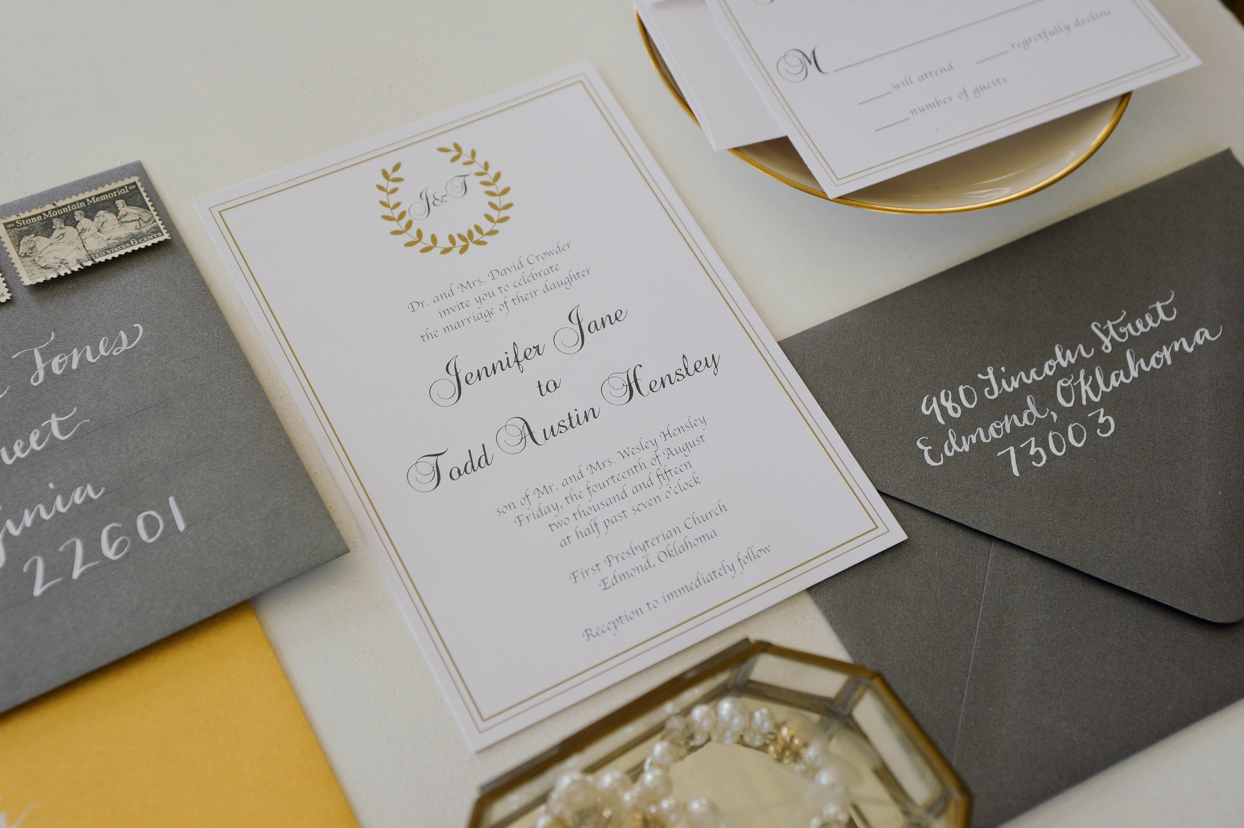 Wedding invitation suite and calligraphy designed by Rachel Kathryn Designs. Photo by Erin Goodrich Photography.