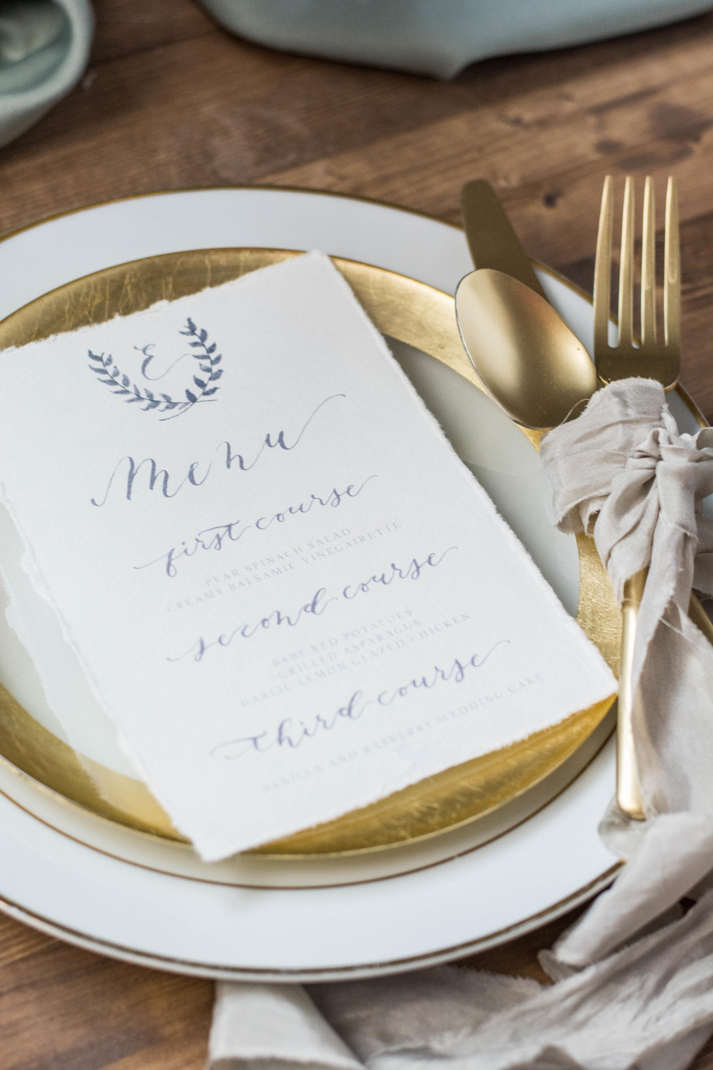 Organic Watercolor and Gray Calligraphy Wedding Menu