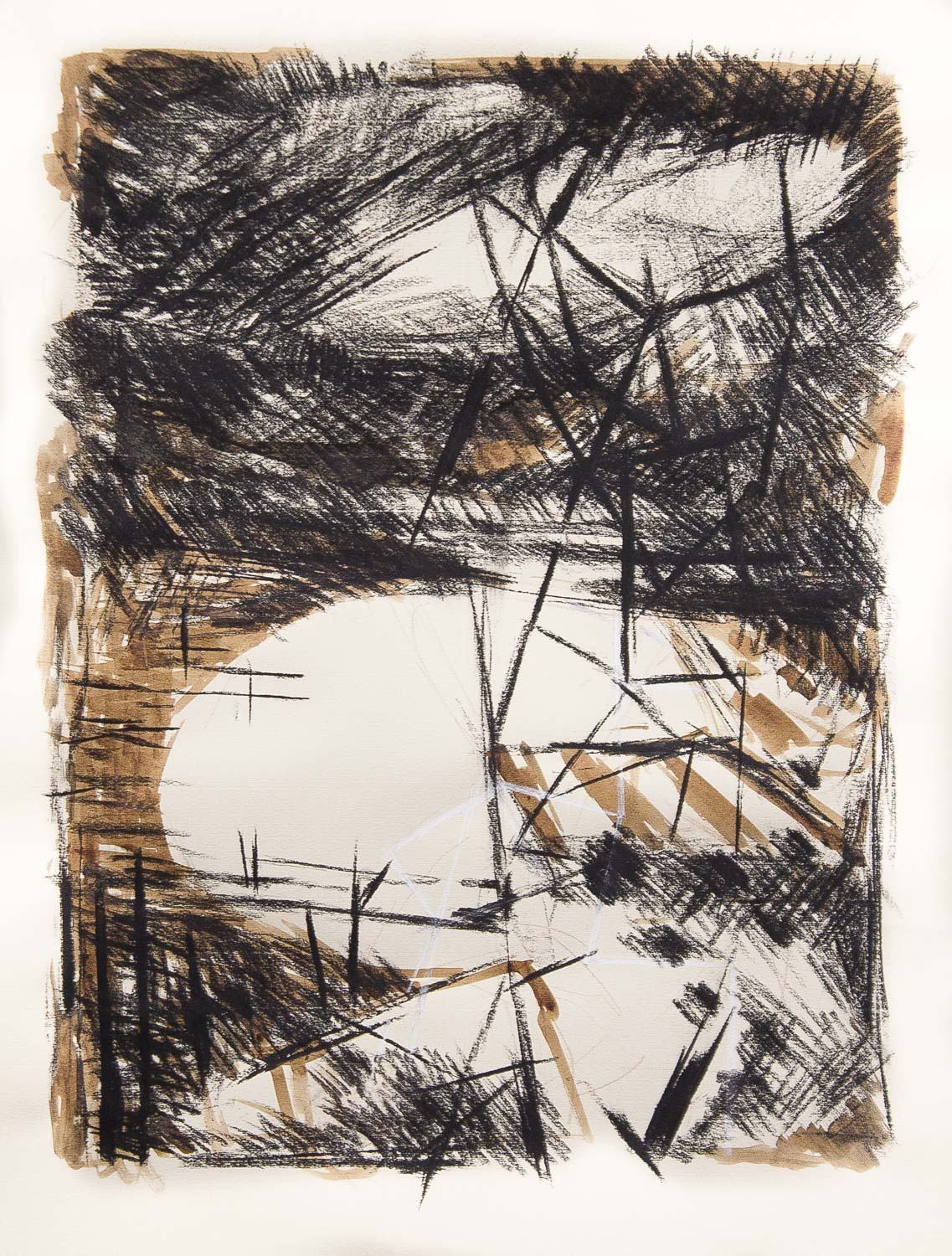 """Untitled (Estuary with Scaffold) , 2015 mixed-media on paper 22 x 30"""""""