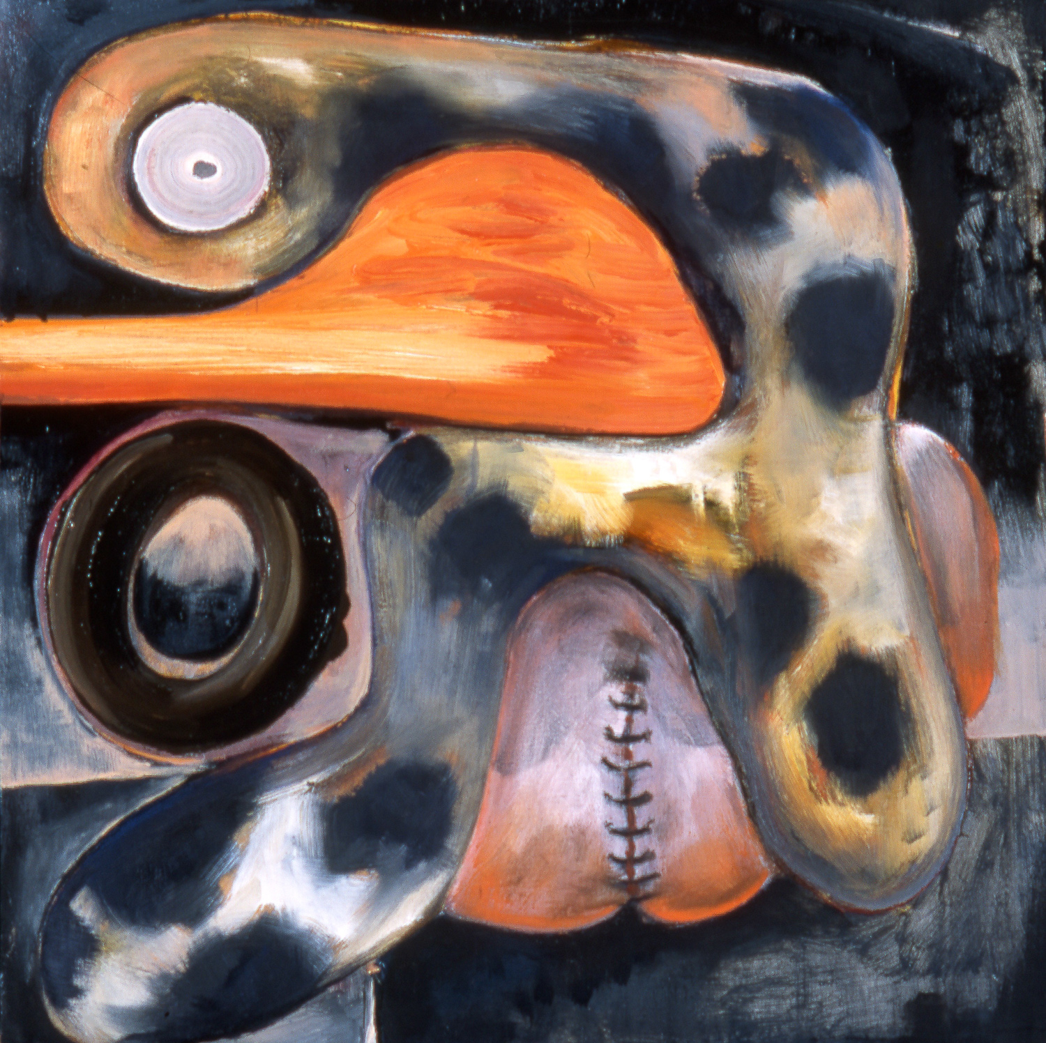 Reflux or tumor? , 2002   Oil on canvas   24 x 24""
