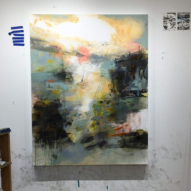 Few studio pics—new painting in progress. #seattleartist #contemporaryart #abstractpainting