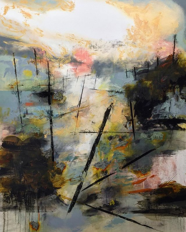 "Flipped Forest #1, oil on canvas, 48x61.5"" #flippedforest #seattleartist #contemporaryart #abstractlandscapes"