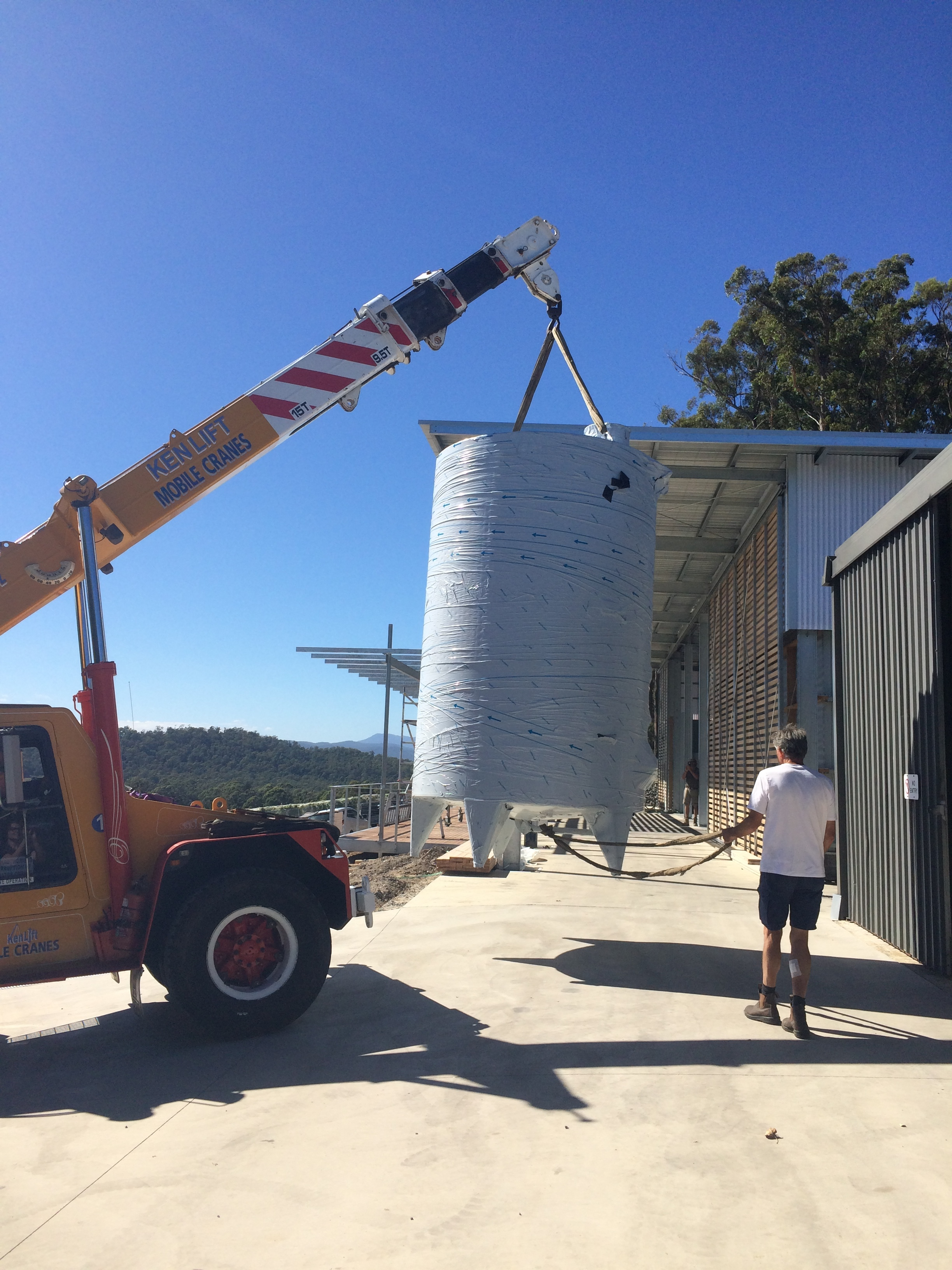 Just in time delivery. Our tanks arrived from Italy to be craned in to the winery.