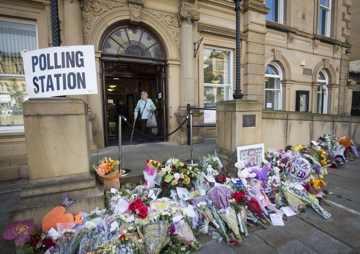 Batley Town Hall with floral tributes for Jo Cox MP (Photo credit: Daniel Lawson/PA).