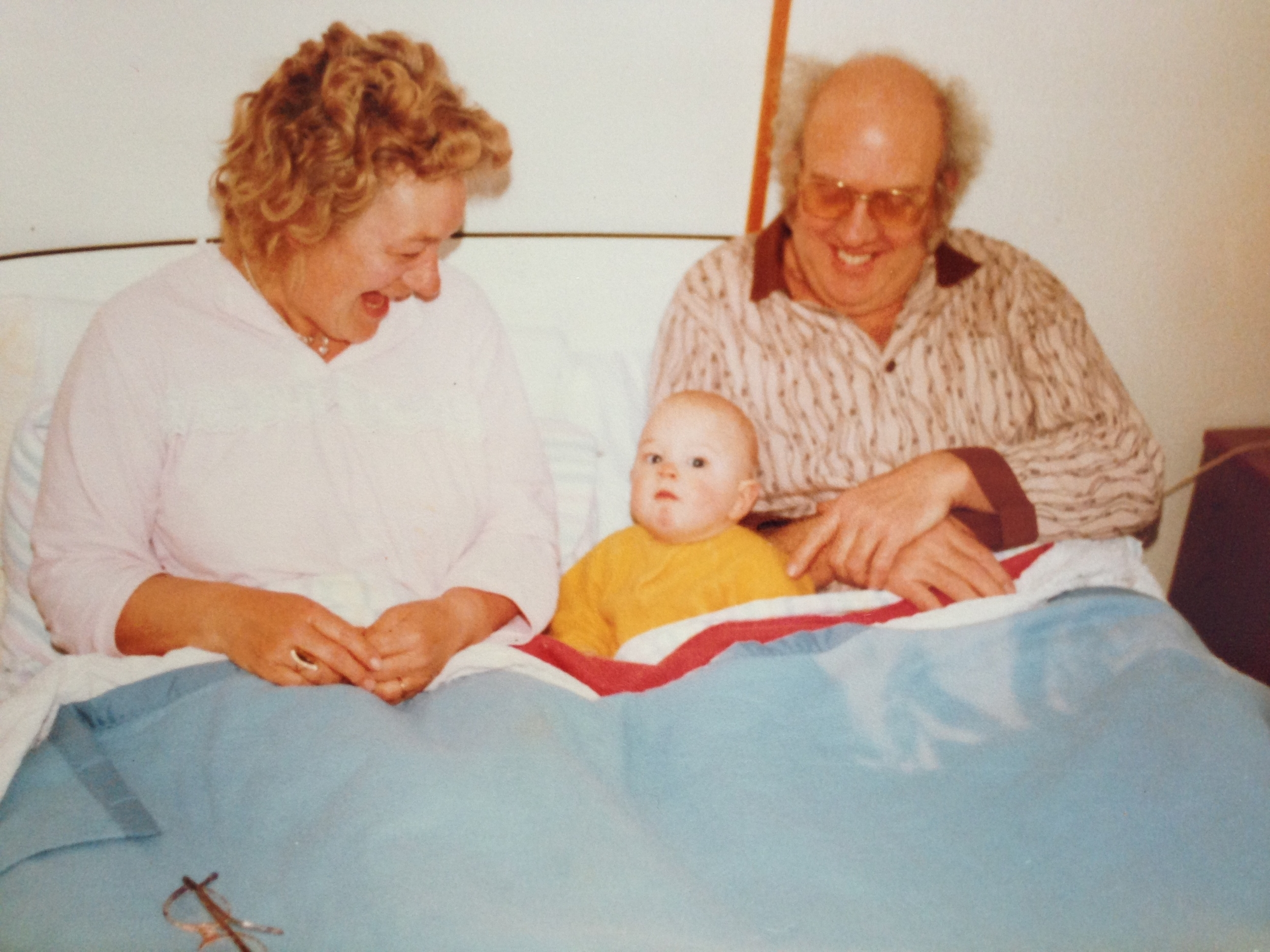 Self-portrait with Grandparents. Abersoch, c.1980.