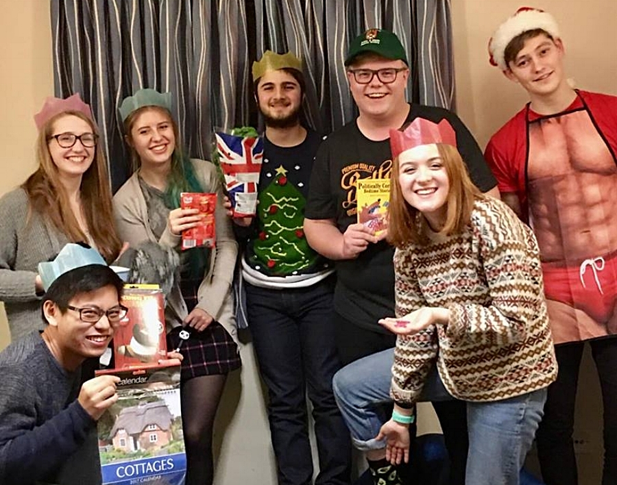 Costa with his flatmates and neighbours after a Secret Santa Exchange !