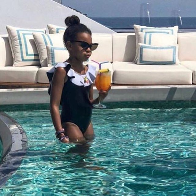 We are so proud to see Blue Ivy rocking our bathing suit #modelkarie. Thank you so much @beyonce for having your daughter wear @jillswimwear she looks adorable! #love