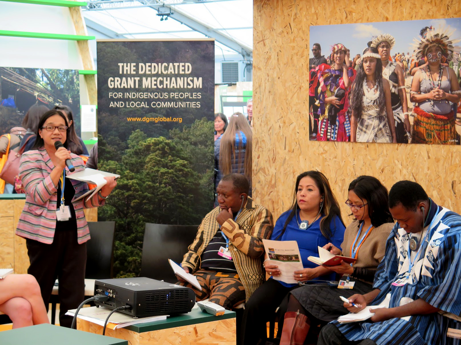 The DGM was represented at the IP Pavilion by, from left to right: Global Steering Committee co-chairs Grace Balawag and Kapupu Diwa (from the Philippines and DRC, respectively), Marilen Puquio Arturo (Peru), Mina Setra (Indonesia), Idrissa Zeba (Burkina Faso), and, not pictured, Januario Tseredzaro Ruri'õ (Brazil).