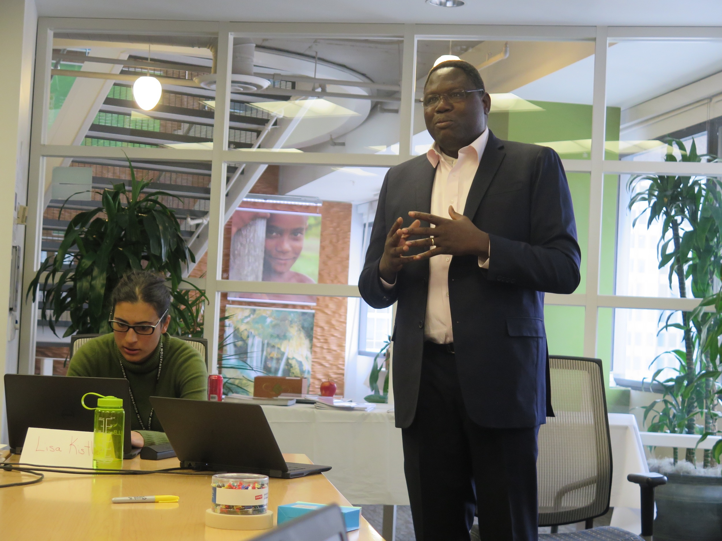 Moumini Savadogo (Burkina Faso) speaks at the DGM Planning and Coordination meeting on Tuesday.