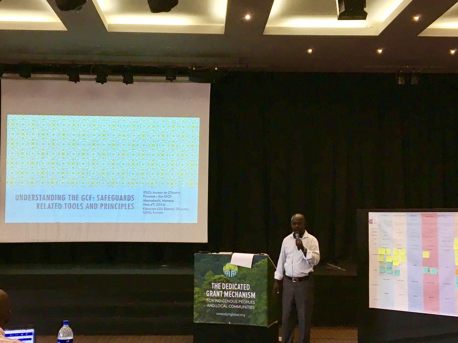 Kimaren Ole Riamit facilitated a session on IPLC engagement in the GCF at the DGM Global Exchange in Marrakech.