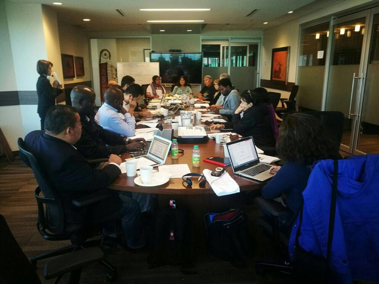 Indigenous peoples and local community's representatives have a prepatory meeting prior to Monday's informal dialogue.  Johnson Cerda and Melanie Allen