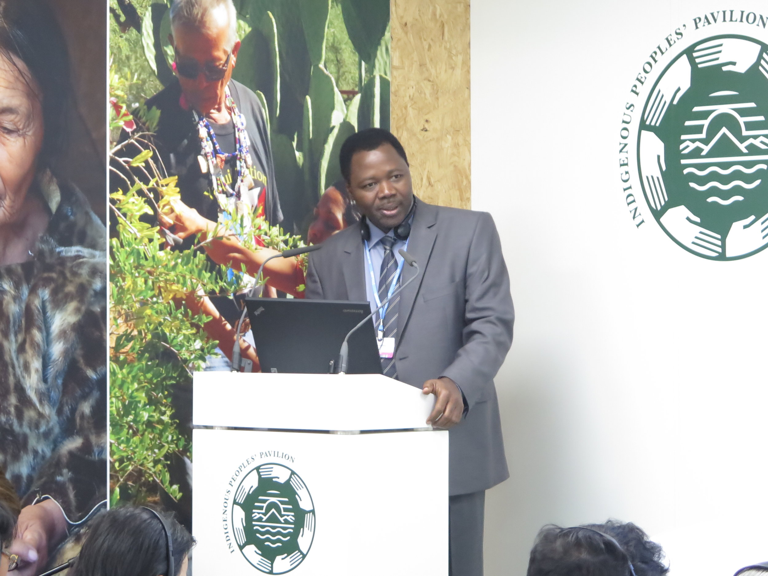 Photo credit: Luis Barquin  Idrissa Zeba speaking about the DGM at a COP23 side event hosted by the Indigenous Peoples Pavilion.
