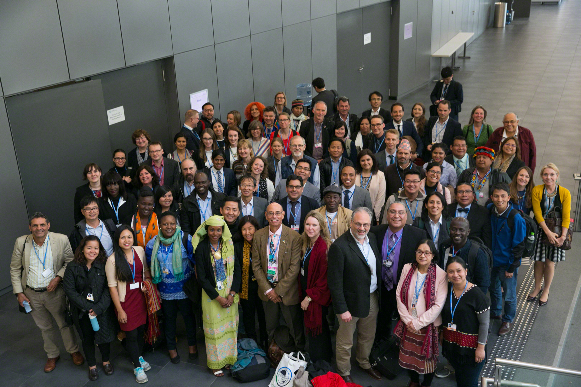 IPLC leaders and climate negotiators group photo following discussion on the LCIP Platform during the Climate negotiations held in Bonn, Germany (UNFCCC SB48). Photo by IISD/Kiara Worth