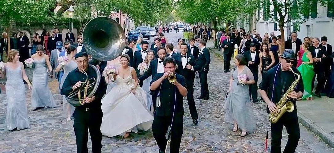 Todd Beals Jazz Quartet New Orleans inspired march Wedding down historic Charleston cobblestone streets
