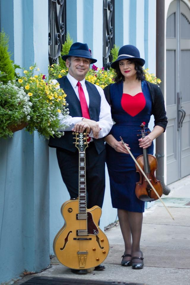 Tesoro is a violin (Gina Guidarelli) and guitar (Billy Kaiser) jazz duo. Tesoro specializes in gypsy jazz and jazz standards, as well as Pop, Latin, Celtic and classical.  The duo is based is Charleston, SC and dresses in period attire to add to their authentic vintage jazz sound.