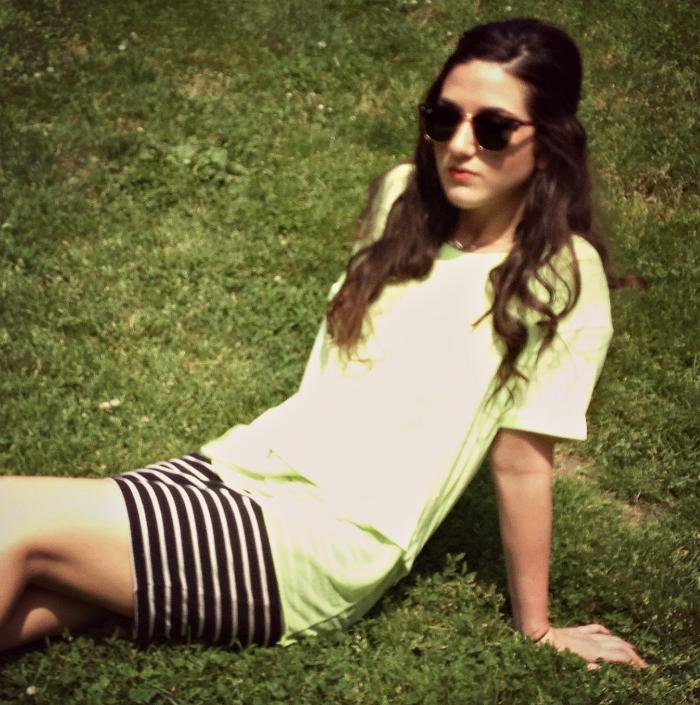 Zara neon top, H&M striped skirt, Rayban sunglasses, Nordstrom Trolley Booties