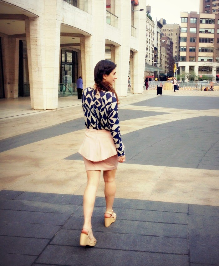 wooden wedges and peplum skirt - Louboutins and Love Fashion Blog by Esther Santer