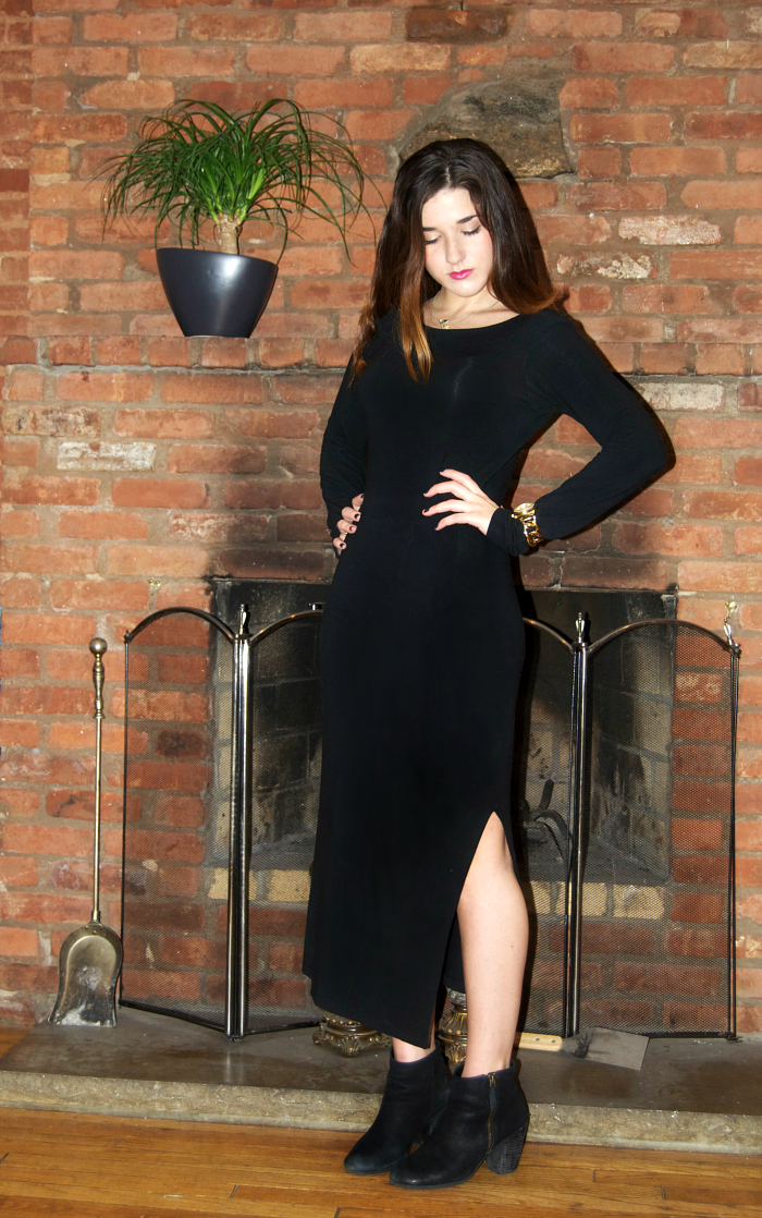 side slit black maxi dress - Louboutins and Love Fashion Blog