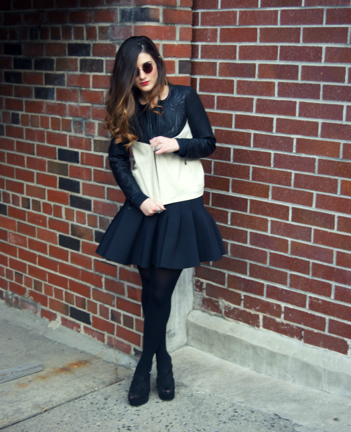 round Firmoo sunglasses and two-tone leather jacket - Louboutins and Love Fashion Blog