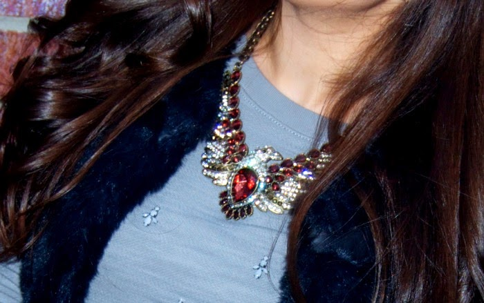 blue fur vest and jewel detailing - Louboutins and Love Fashion Blog