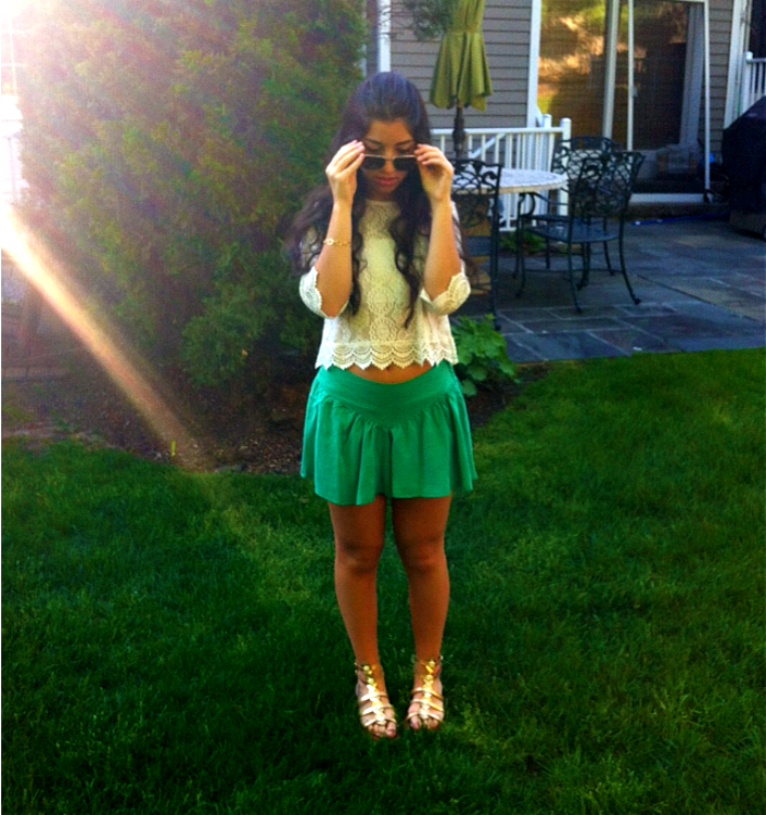 green+skort+and+lace+top+louboutins+and+love+fashion+lifestyle+blog+style+trends+summer+spring+skirt+shirt+shoes+sandals+gold+metallic+2013+eyelet+hair+model+brunette+beautiful+pretty+new+york+photoshoot+photography+closet+dress+outfit+inspiration+.png