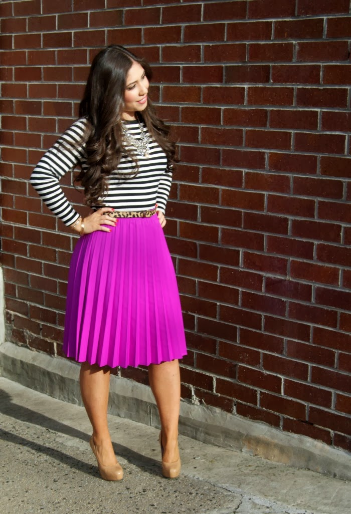 fuchsia pleats, leopard belt, and Jcrew jewels - Louboutins and Love Fashion Blog