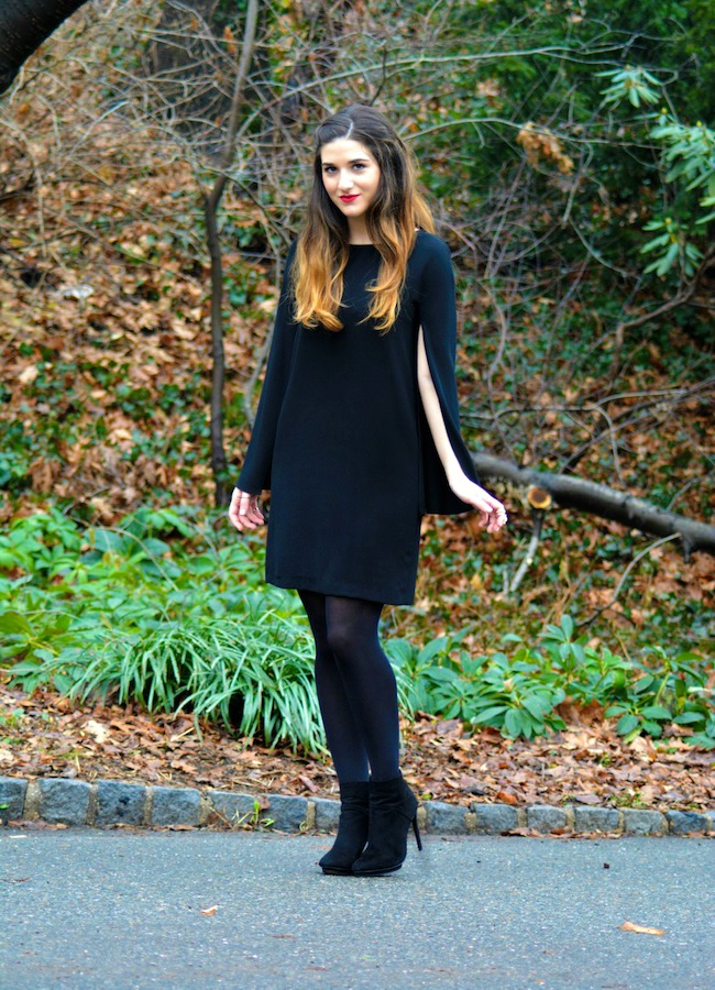 Black Cape Dress and Suede Booties - Louboutins and Love Fashion Blog by Esther Santer