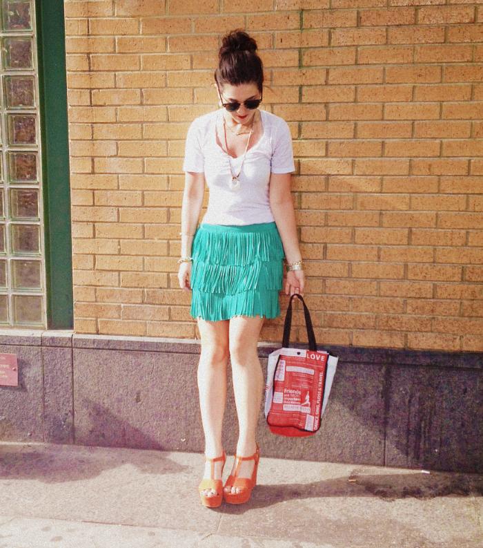 Rayban sunglasses, Zara green fringe skirt, Nordstrom leaf bracelet, Zara red wedges