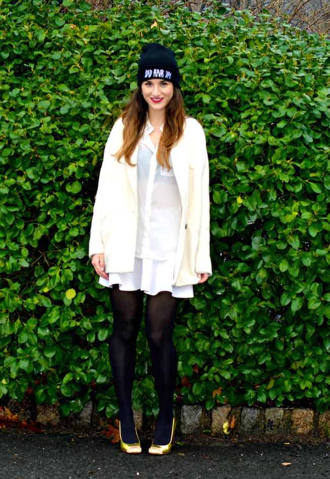 Winter Whites and Bad Hair Day Beanie - Louboutins and Love Fashion Blog by Esther Santer