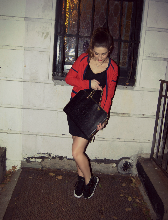 Chanel LBD, Chanel red jacket, Chanel laptop case, Supra sneakers