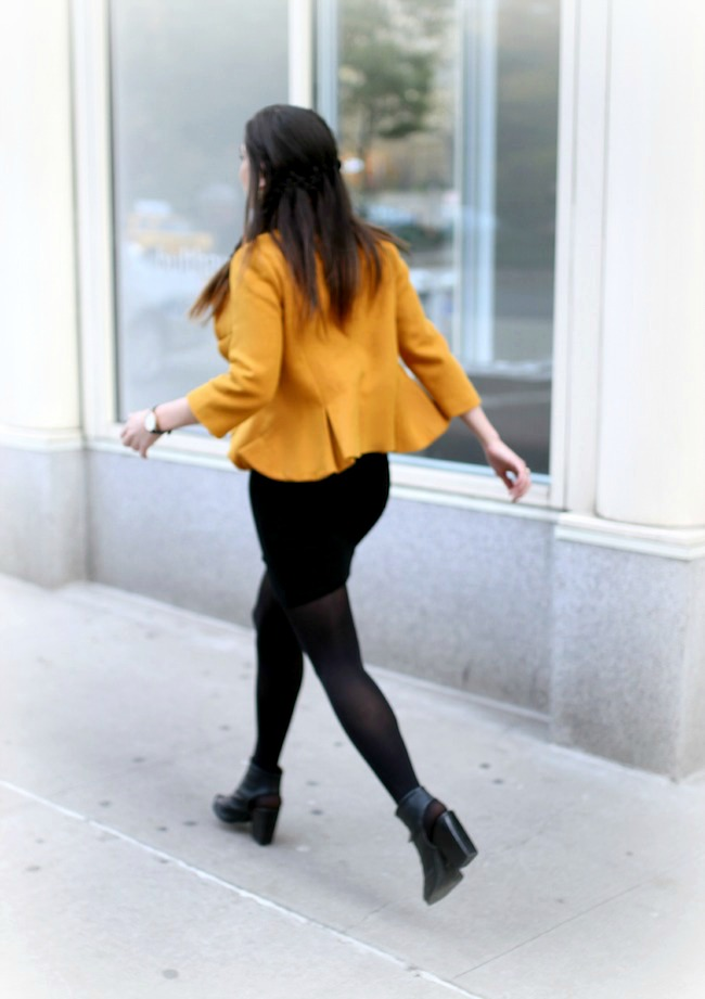 Yellow Ruffled Jacket Over Black Dress - Louboutins and Love Fashion Blog by Esther Santer