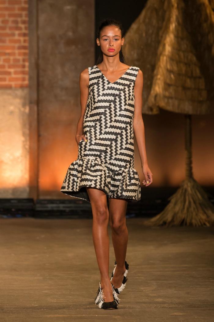 zig zag shift dress with ruffle hem