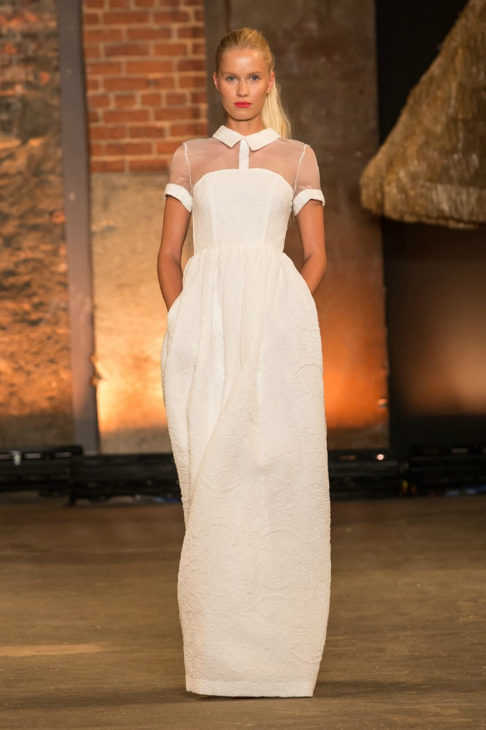 brocade gown with collar and sheer neckline