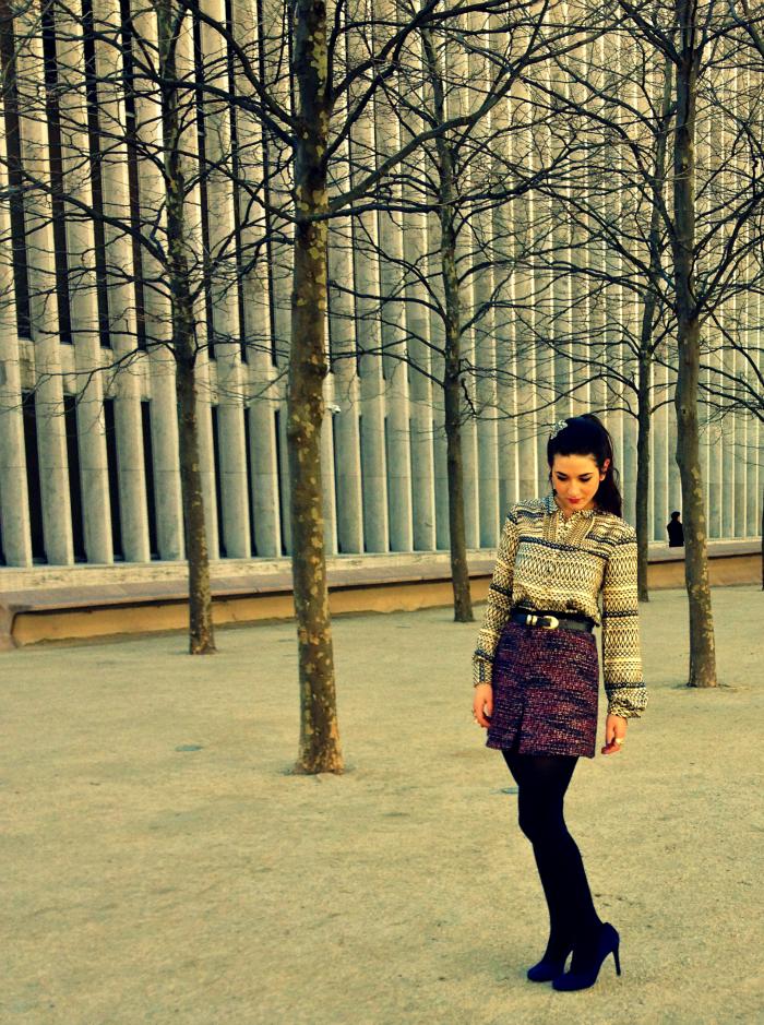Anthropologie hairpiece, Covet silk top, vintage belt, H&M tweed skirt, Hue navy tights, Jessica Simpson heels